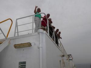 les passagers sur le pont