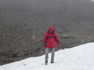descente du glacier mais sans les skis