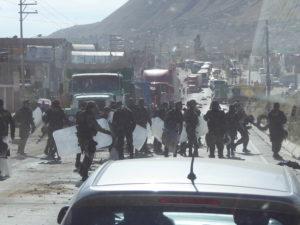 Manifestation à la sortie d'arequipa
