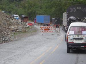 travaux sur la route de Medellin
